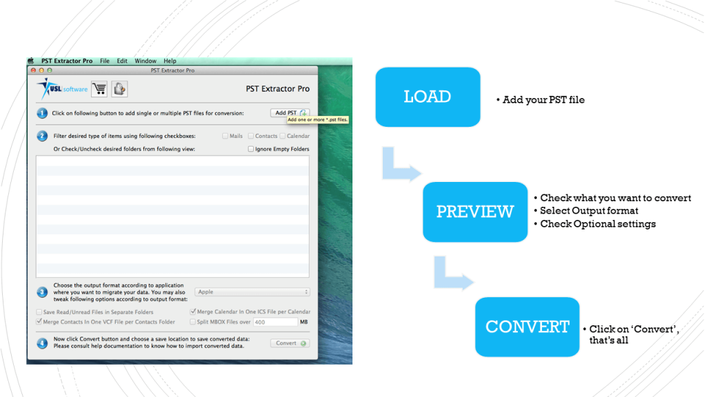 pst to os x mail converter