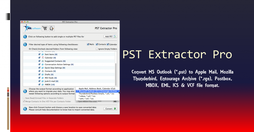 exporting pst to entourage
